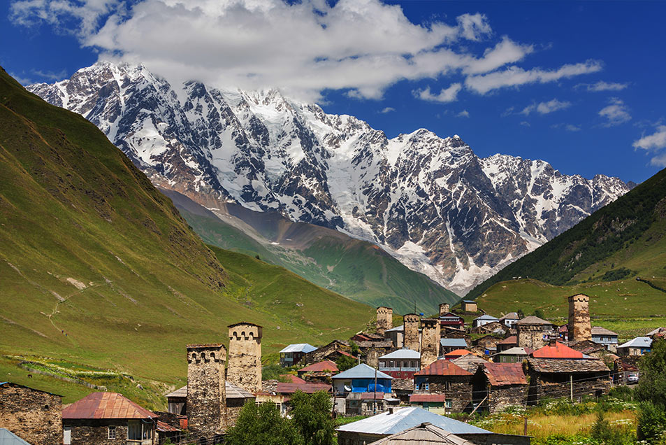 Ushguli, at the base of the Caucasus Mountains