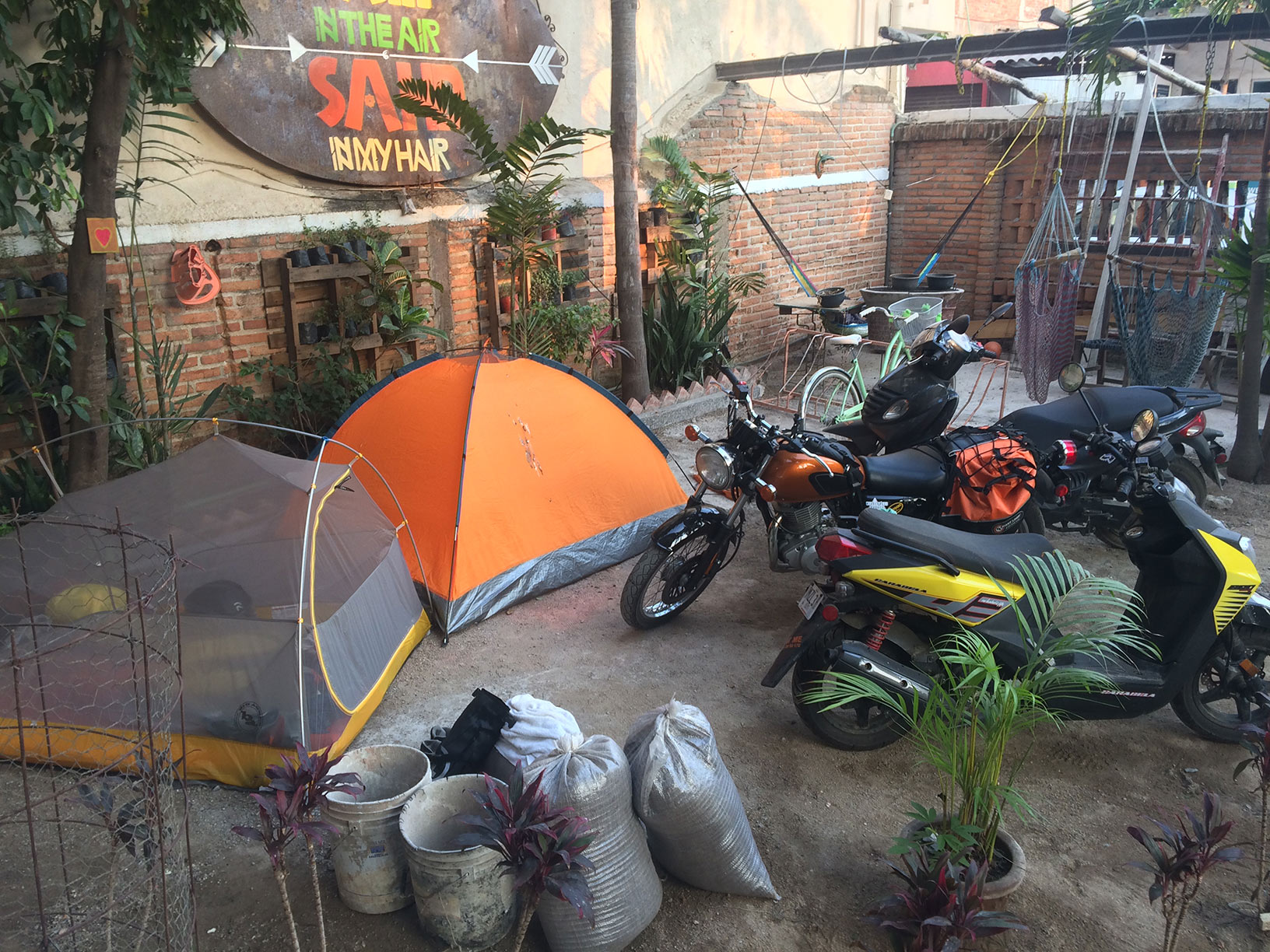 Camping in the LaRedonda Hostel front yard.