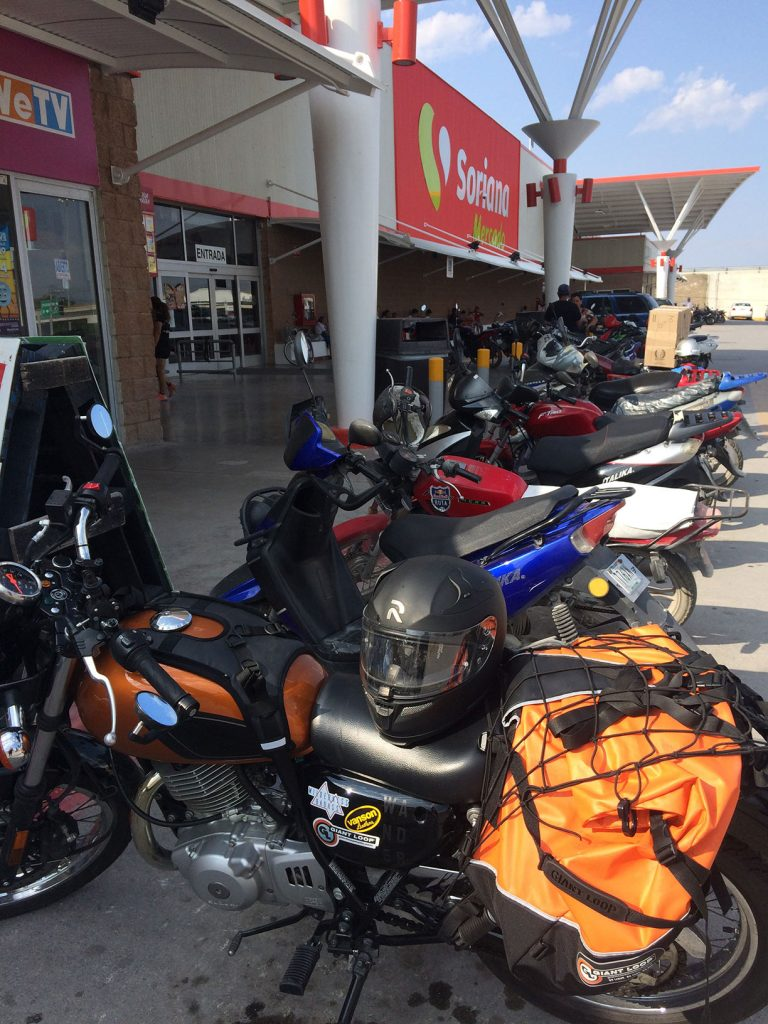 Motorcycle Parking the the Super in Matehuala, Mexico