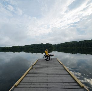 wheelchair outdoors lake
