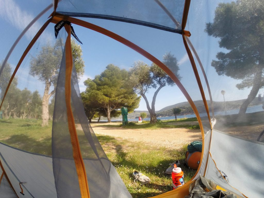 Camping on the coast in Croatia.